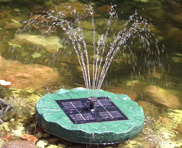 Large floating lily solar pond fountain traditional for Pond features and fountains