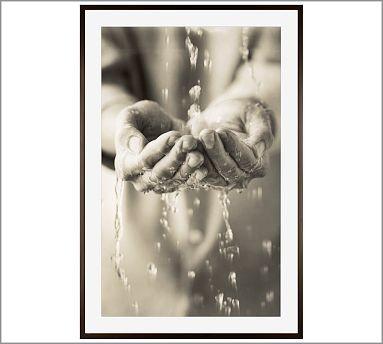 "Michal Venera Framed Print, Water Hands, Mat, 28 x 42"", Espresso traditional-artwork"