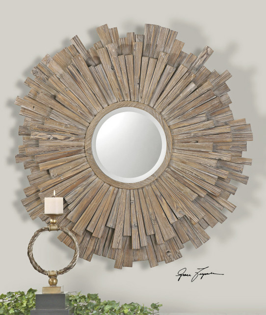 Vermundo driftwood round mirror traditional wall for Round wood mirror