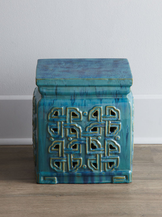 Horchow - Vintage Ceramic Garden Stool - This green-blue is a great color, and the short stature of this stool makes it perfect for propping up your feet.