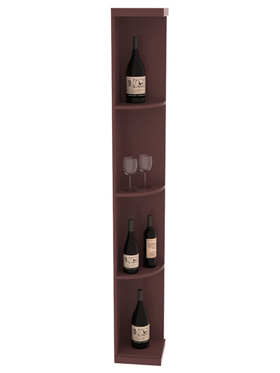 Quarter Round Wine Display in Pine with Walnut Stain + Satin Finish - Highly decorative Quarter Round Wine Displays are the perfect solution to racking around corners. Designed with a priority on functionality, these wine storage units are excellent as end caps to walls of wine racking or as standalone shelving.