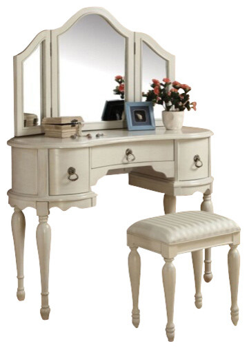 Trini 3 Piece Off White Finish Wood Make Up Dressing Table Vanity Set Conte