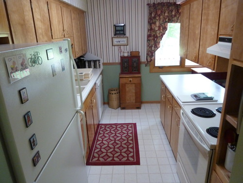 1960 39 s small galley kitchen remodeled before and after for Opening up a galley kitchen before and after