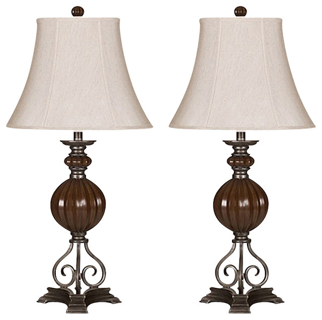 32 olsa 3 way set of 2 table lamps pewter traditional. Black Bedroom Furniture Sets. Home Design Ideas