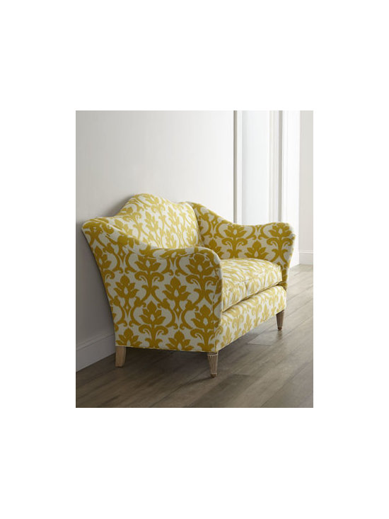 """Old Hickory Tannery - Old Hickory Tannery """"Devin"""" Settee - Curvaceous settee wearing damask-print upholstery in sunny yellow and accented with lime-washed feet evokes a cheerful spirit as it brings welcome seating to the room. Hardwood frame. Cotton upholstery. 61""""W x 37""""D x 42""""T. Made in the USA. Boxed we..."""