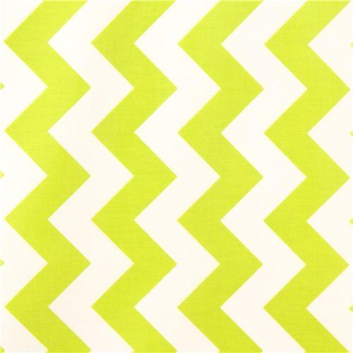 chevron Riley Blake laminate fabric white lime green - Fabric