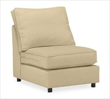PB Comfort Square Arm Upholstered SectionalArmless Chair, Box Cushions, Polyeste traditional-decorative-pillows