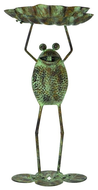 Metal Bird Feeder Frog Rustic Look Traditional Bird