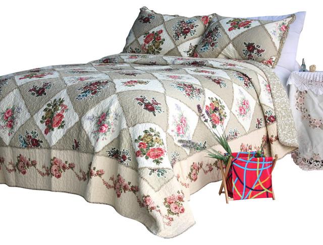 Secret Garden 100% Cotton 3PC Floral Patchwork Quilt Set  Queen Size traditional-quilts-and-quilt-sets