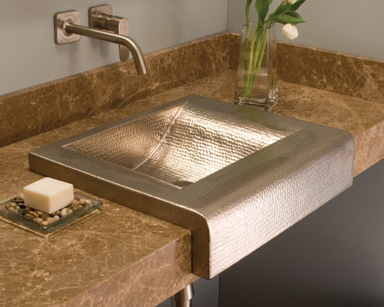 Palisades Brushed Nickel Copper Sink by Native Trails - Turn the corner on tradition with Palisades copper sink, a variation on the popular Farmhouse sink that's so loved in the kitchen. Its pronounced cascading apron front provides the perfect showcase for its handsome hammered texture. The essence of soft contemporary design, Palisades is available in Antique or hand-dipped Brushed Nickel finishes.