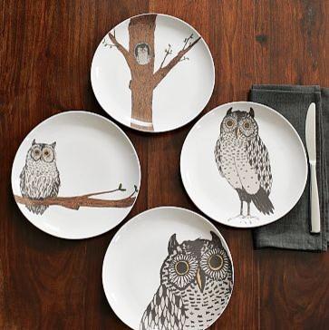 Owl Organic Dessert Plate modern-salad-and-dessert-plates
