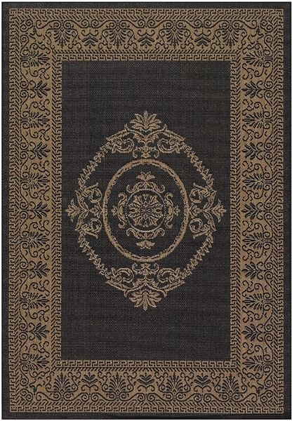 Antique Medallion Black and Cocoa Outdoor Rug outdoor-rugs