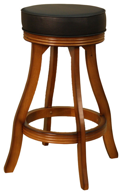 American Heritage Designer Bar Stool in Vintage Oak with Black Vinyl traditional-bar-stools-and-counter-stools