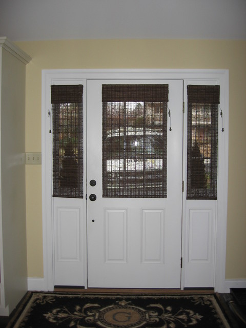 Glass door solution window treatments philadelphia for Front door window blinds