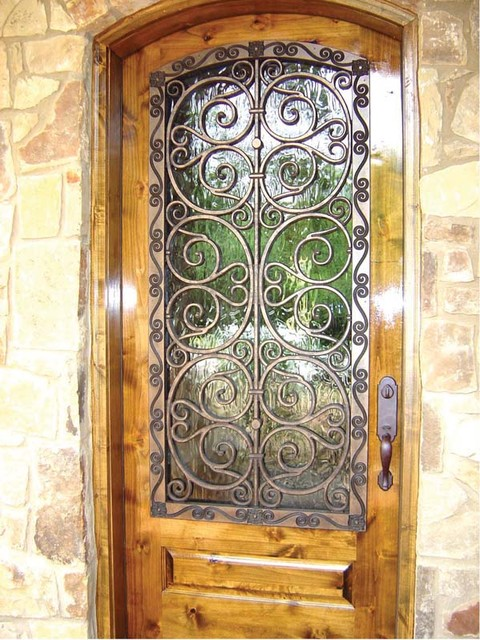 Faux Iron Door Cover eclectic front doors