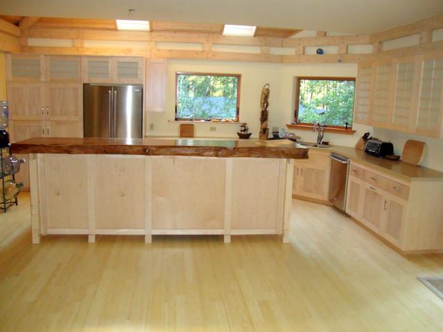 shoji style kitchen cabinetry w/ live edge teak bartop