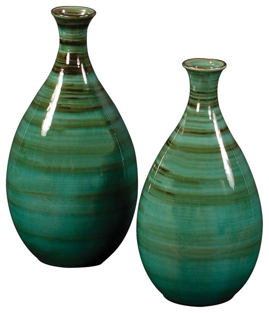 Teal with Green and Black Striped Glazed Ceramic Vases contemporary-vases