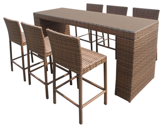 Tuscan Bar Table Set With Barstools 7 Piece Outdoor Wicker Patio Furniture