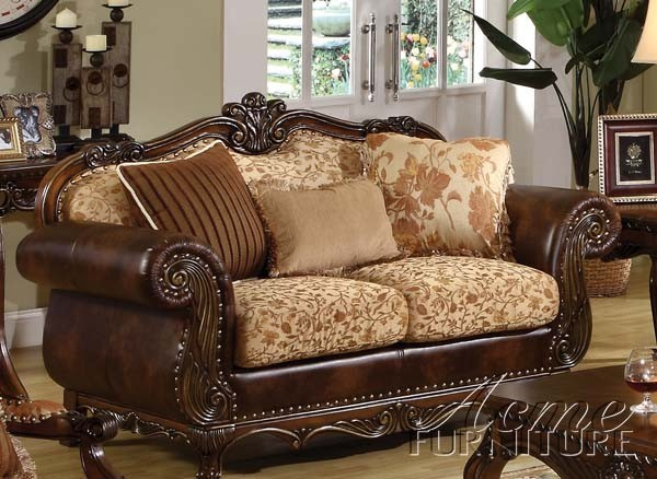 Acme Furniture - Remington Bonded Leather & Fabric Loveseat with 3 Pillows - 501 modern-loveseats
