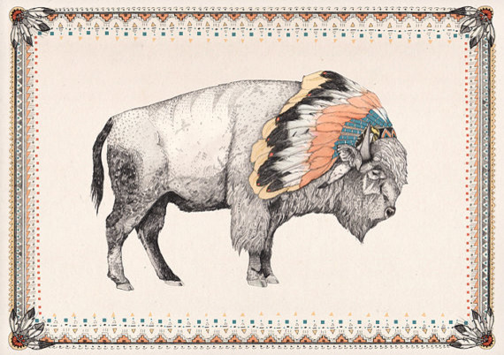 White Bison Print by Sandra Dieckmann contemporary artwork