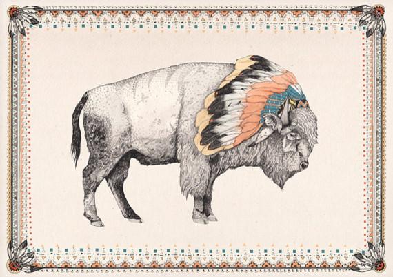 White Bison Print by Sandra Dieckmann contemporary-artwork
