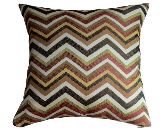 KH Window Fashions, Inc. - Chevron Pillow Cover in Spice- Orange, Green, Brown and Ivory, With Insert - Chevron pillow in spice, orange, green, brown and ivory. Perfect to toss on your bed or sofa.