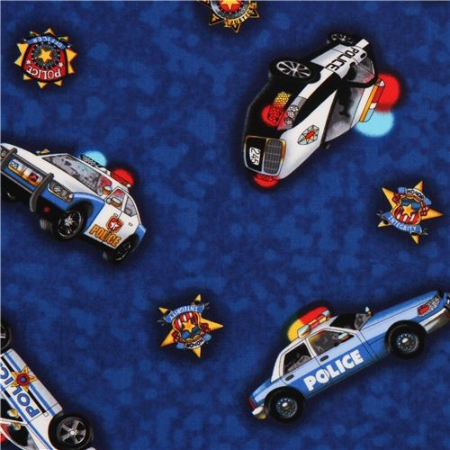 Blue Police Car Fabric For Boys By Timeless Treasures By