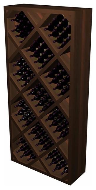 Diamond Bin w/Front Trim (Solid); Designer: Premium Redwood, Dark Walnut contemporary-wine-racks