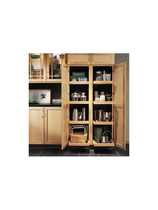 Utility Cabinets with Roll-Out Trays - You won't have to reach back into your Utility Cabinets when you have Roll-Out Trays. They bring the shelf contents out to you, and slide in and out quietly.