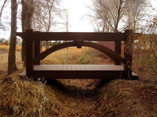 Mclellen timber frame bridge rustic watering and for Timber frame bridge