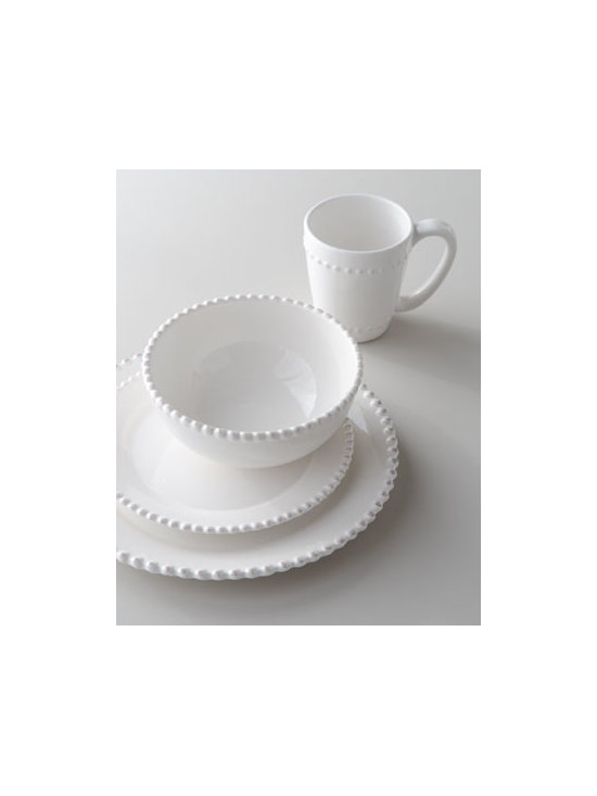 "16-Piece 'Bianca' Beaded-Edge Dinnerware - I serve meals on the back porch all the time, and although some prefer plastic dinnerware outdoors, I always use real dishes. White is such a wonderful color — as my mom always said, ""It goes with everything."" I look for dishes with wonderful texture, and these have it in aces with the beaded edges."