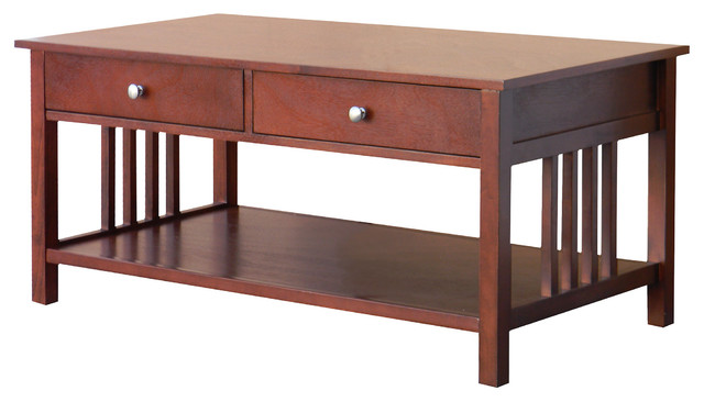 Hollydale Chestnut Mission Style Coffee Table contemporary-coffee-tables