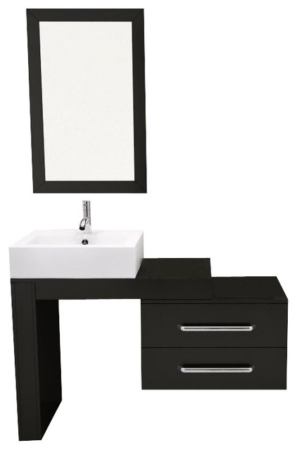 Portland Single Sink Wall Mounted Vanity Set Espresso Glass Top