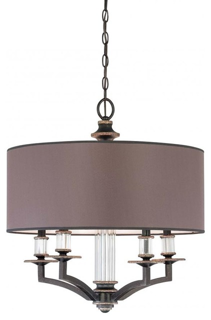 Five Light Distressed Bronze Charcoal Fabric Shade Drum Shade Chandeli contemporary-chandeliers