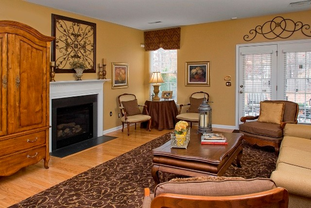 Brown and gold causal french living room traditional family room