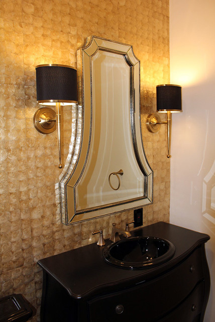 Natural Gold Capiz Shell Bathroom Wallcovering traditional-tile