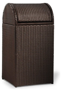 Logan Outdoor Wicker Trash Can - Traditional - Outdoor Trash Cans