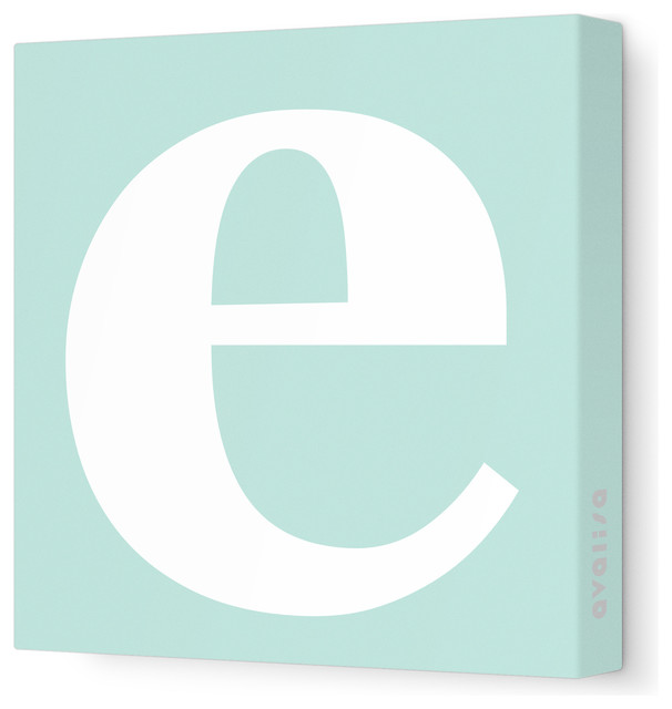 "Letter - Lower Case 'e' Stretched Wall Art, 12"" x 12"", Sea Green contemporary-artwork"