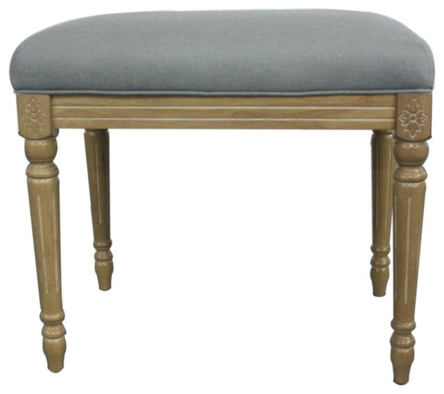 Tiffany Bench Distressed White Rain Cloud Traditional
