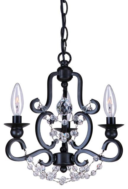 Crystorama Orleans 1 Tier Chandelier in Black eclectic-chandeliers