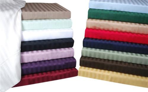Egyptian Cotton 300 Thread Count Stripe Duvet Cover Set King/Cal-King Beige modern-duvet-covers