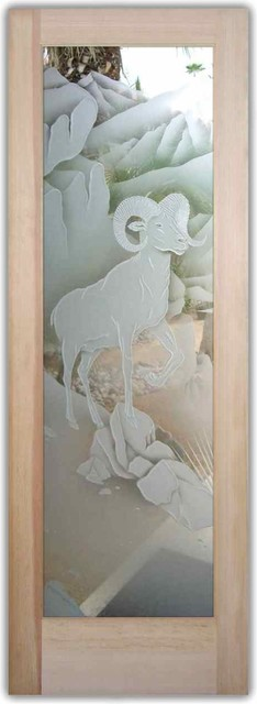 Interior Glass Doors - Big Horn Sheep rustic-interior-doors