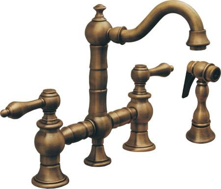 Antique Brass Whitehaus Whkbtlv3 9206 Curved Spout Style Prep Bridge Faucet Si Traditional