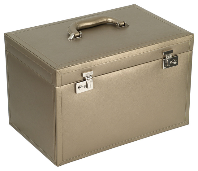 Queen's Court Extra Large Jewelry Case, Bronze traditional-jewelry-boxes-and-organizers