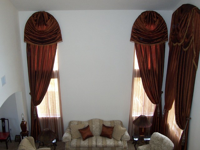 Traditional style window treatment, custom sewing. traditional