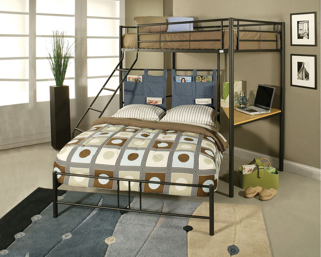 Winoma black metal twin over full bunk bed with study desk Black bunk beds