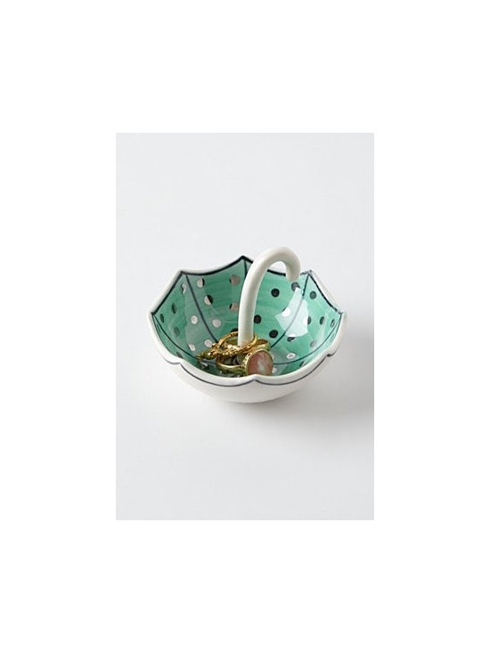 """Molly Hatch - Umbrella Ring Dish - . By Molly Hatch. Stoneware. Hand wash. 2.25""""H, 3.25"""" diameter. Imported"""