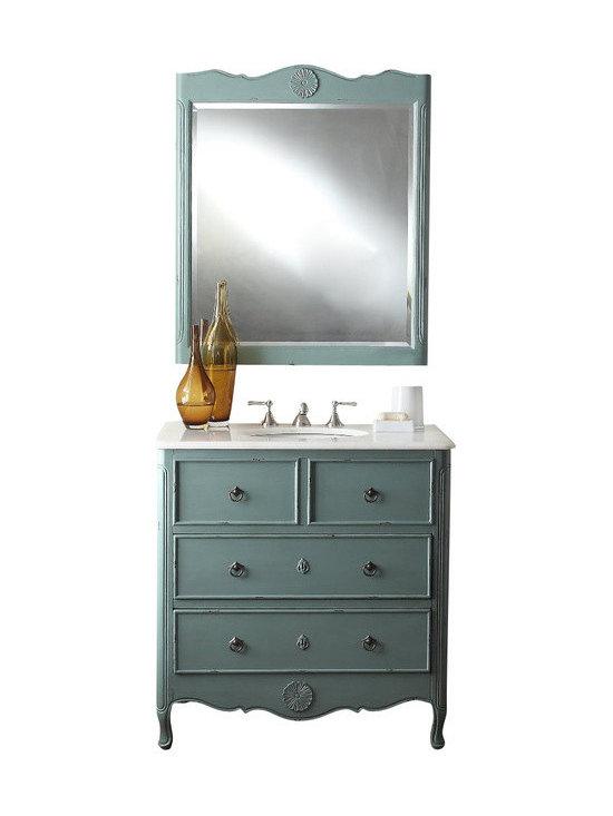 "Benton Collection - 34"" Cottage Look Daleville Bathroom Sink Vanity W/Matching Mirror - Hf081Y - Dimensions: 34 x 21 x 35"" H"