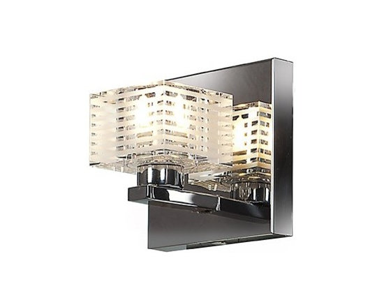 Access Lighting - Sophie 1-lt Square Etched Crystal Vanity - Sophie 1-lt Square Etched Crystal Vanity