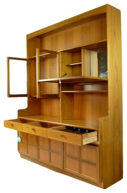 mid century modern teak wall unit midcentury display. Black Bedroom Furniture Sets. Home Design Ideas